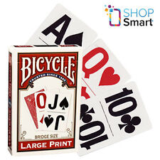 BICYCLE LARGE PRINT PLAYING CARDS DECK MADE IN USA RED BRIDGE SIZE NEW