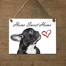 BULLDOG FRANCESE Home Sweet home mod2 Targa CANE piastrella ceramic tile dog