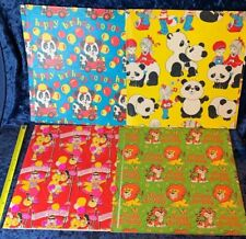 """4 Vintage 1970s Children's Gift Wrap Wrapping Paper 20x30"""" Sheets Tiger Panda"""