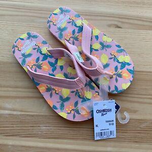 NWT OSHKOSH Pink Flip Flops Sandals Size 11-12 Toddler