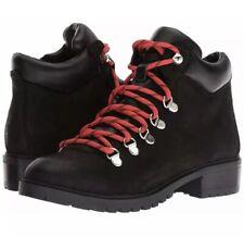 818a5e2ec40 Women s Steve Madden Lora Black Leather Hiking Winter Boots Size 8.5