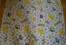 Vintage POKEMON flat sheet bed anime cartoon 80s twin fabric 80s 90s Pikachu