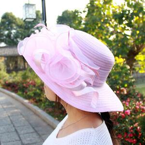 Elegant Women's Organza Floral Wide Brim Church Dress-up Sun Hat for Wedding US