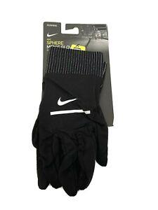 Nike Dri Fit Men's Sphere Running Gloves Large Black Touch Screen Lightweight