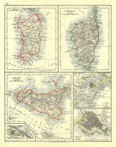 MEDITERRANEAN ISLANDS. Sardinia Corsica Venice Sicily Venezia. JOHNSTON 1906 map