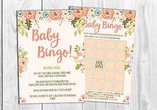 Baby Shower Gioco BINGO 20 Fogli/Player, Floreale, Carino, Arancione, Ragazza, Ragazzo, Neutro