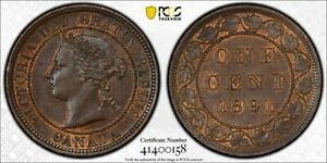 1891 Canada Large Cent Large Leaves Large Date PCGS MS63 BN Lot#G681 Choice UNC!
