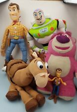 DISNEY PIXAR TOY STORY TALKING WOODY BUZZ LOTSO BULLSEYE PLUSHIE BUNDLE