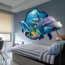 Sticker Autocollant 3D Dauphins Mer Vue Sous Marine Pour Bébé Enfant Chambre NF