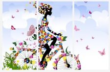 3594911534 Pretty Women On Bite Flowers Colourful 3 x Split Panel Canvas Pictures  10x20