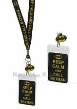 DC Comics Keep Calm Call Batman ID Holder Lanyard W/ Rubber Charm Neck Strap New