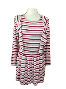 NWT Gymboree Girls Size XL 14 Soft Striped Pink & Gray Long Sleeve Holiday Dress