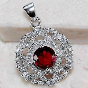 3CT Ruby & White Topaz 925 Solid Sterling Silver Pendant Jewelry, CG6-3