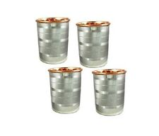 Set of 4 Copper SS Ayurvedic Glass Cup Storage Drinking Water health Yoga + Ship