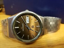 Vintage Seiko King Twin Quartz 9923. Rare Brown Dial! All Stainless Mens Watch