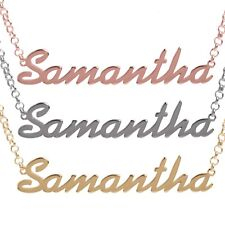 Personalised 925 Solid Silver Name Necklace Yellow /Rose Gold Plated Pendant