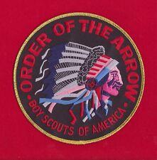 BLACK Twill OA Indian Head Jacket Back Patch Order Arrow 6 Inch GOLD Border
