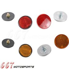 2Pcs Round Red Amber Reflector Universal For Motorcycles ATV Dirt Bike Trailer