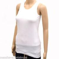 Top T-Shirt Tank Top Longshirt Feinripp Damen Unterhemd Baumwolle Weiss Gr.36-58