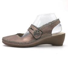 Spring Step Metallic Bronze Leather Slingback Mary Jane Wedge Women's 9 / 40