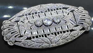 Antique 1950s Platinum 3.52CTW diamond cluster filigree brooch w/ 1.0CT ctr.