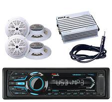 "Marine USB Bluetooth iPod AM FM Radio &Amplifier,Antenna,4 White 5.25"" Speakers"