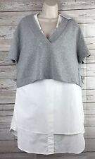 Derek Lam 10 Crosby 2 In 1 Sweatshirt Poplin Dress Gray White Sz 12 $425 NEW