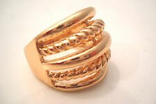 Gold Tone Horizontal Lines Twist Patterned Style Statement Ring Size S
