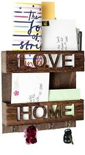 Wall Mounted Love Home Rustic Wood Mail Organizer - OTONCOLORS. Brown