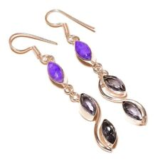 Charoite, Faceted Iolite Gemstone silver plated Handmade Bezel Set Drop Earrings