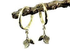 333 Gold kleine Scharnier Creolen 1 Paar  Blätter Anhänger mit Zirkonia Steinen