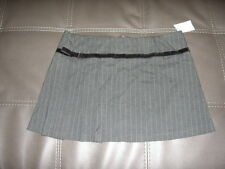 Cute Gray Pinstripe Mini Skirt With ribbon/bow  detail Size L
