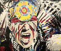 """"""" Warriors Call"""", Original Acrylic Painting Stretched Canvas  Art"""