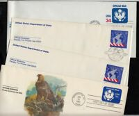 1983-2001 Sc UO73 to UO90 Official & Consular 4 FDCs Fleetwood cachets