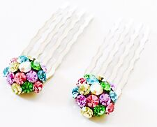 USA Mini Hair Comb use Swarovski Crystal Small Bridal Multi Color