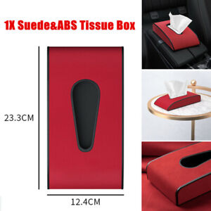 Suede Car Seat Back Tissue Box Central Armrest Cushion Cover Paper Storage Case