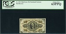 "U.S. 1864-69 10 Cents Fractional Currency Fr-1251 Certified Pcgs ""Choice-63-Ppq"""