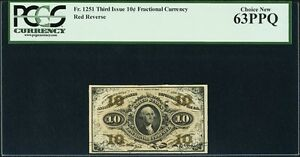 """U.S. 1864-69 10 CENTS FRACTIONAL CURRENCY FR-1251 CERTIFIED PCGS """"CHOICE-63-PPQ"""""""