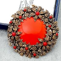 Gorgeous Vintage CZECH Art Deco Red Wreath Large Round Brooch Pin