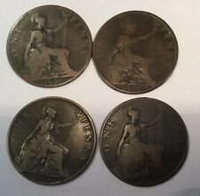 1896, 97, 98 & 99 Large Penny Great Britain UK Lot of 4 Value Consecutive Coins