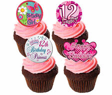 12th Birthday Girl Edible Cup Cake Toppers, Standup Fairy Bun Decorations Pink