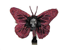 Hairy Scary Burgundy Glitter Small Kahlovera Skull Butterfly Feather Hair Clip