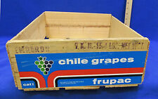 Vintage Wooden Fruit Crate Blue Red Label Chile Grapes Frupac Wood Slats