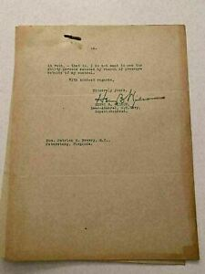 K) 1922 United States Naval Academy Hazing Letter Admiral Henry Wilson Autograph