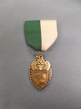 "gold torch basketball medal green/white pin drape 1 1/2"""