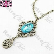 FILIGREE DROP NECKLACE vintage brass TURQUOISE BLUE FACETED GEM antique style