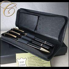 Etui für 3 Schreibgeräte / Stifte * SCHWARZ NAPPA LEDER * Zip Pen Pouch Leather