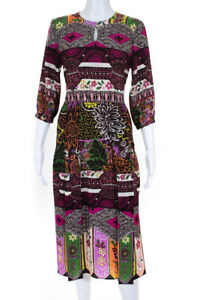 Valentino Womens Silk Floral Print Knee Length A-Line Dress Burgundy Pink Size 6