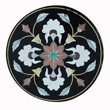 "24"" round coffee center Table Top Inlay Black Semi Precious Decor"