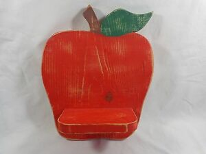 "RED APPLE Wall Shelf 13"" x 11"" Distressed Wood"
